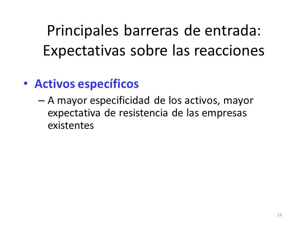 16 Principales barreras de entrada: Expectativas sobre las reacciones Activos específicos – A mayor especificidad de los activos, mayor expectativa de