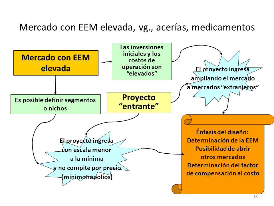 18 Énfasis del diseño: Determinación de la EEM Posibilidad de abrir otros mercados Determinación del factor de compensación al costo Mercado con EEM e