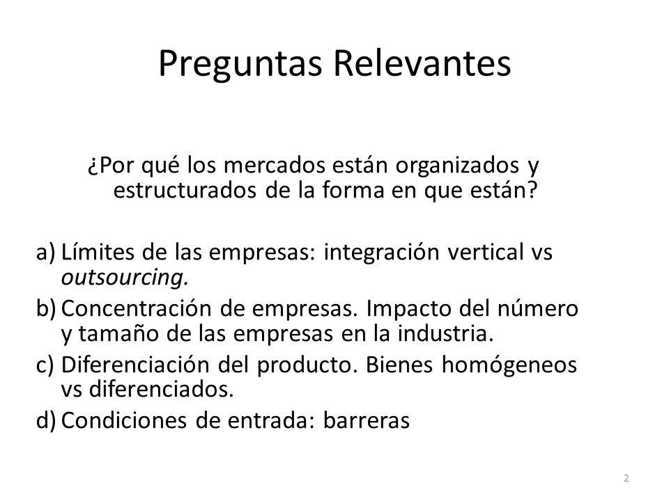 ¿Por qué los mercados están organizados y estructurados de la forma en que están? a)Límites de las empresas: integración vertical vs outsourcing. b)Co