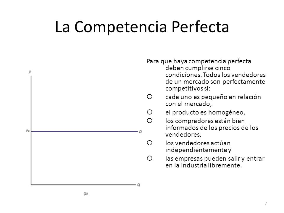 La Competencia Perfecta Para que haya competencia perfecta deben cumplirse cinco condiciones. Todos los vendedores de un mercado son perfectamente com
