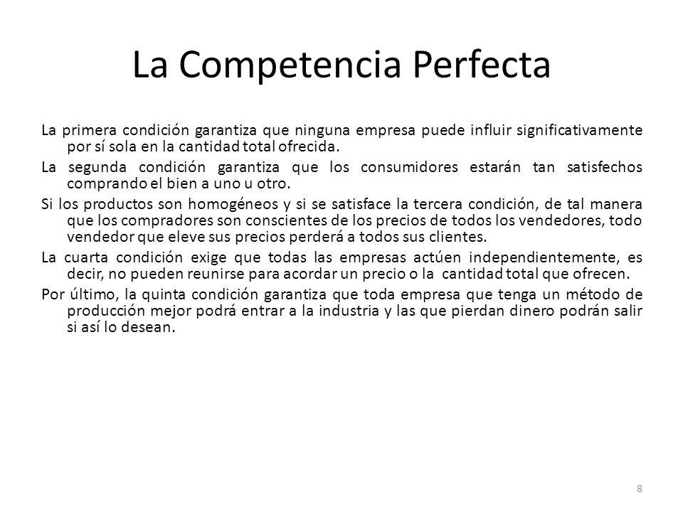 La Competencia Perfecta La primera condición garantiza que ninguna empresa puede influir significativamente por sí sola en la cantidad total ofrecida.