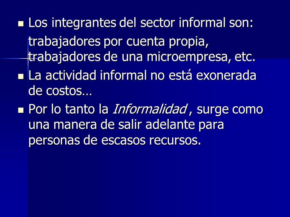 Los integrantes del sector informal son: Los integrantes del sector informal son: trabajadores por cuenta propia, trabajadores de una microempresa, et