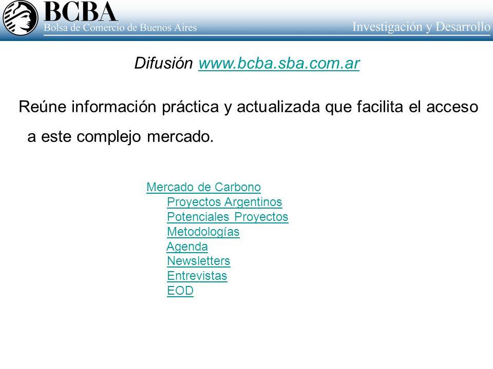 Reúne información práctica y actualizada que facilita el acceso a este complejo mercado. Difusión www.bcba.sba.com.arwww.bcba.sba.com.ar Mercado de Ca