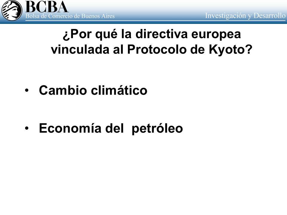 ¿Por qué la directiva europea vinculada al Protocolo de Kyoto? Cambio climático Economía del petróleo