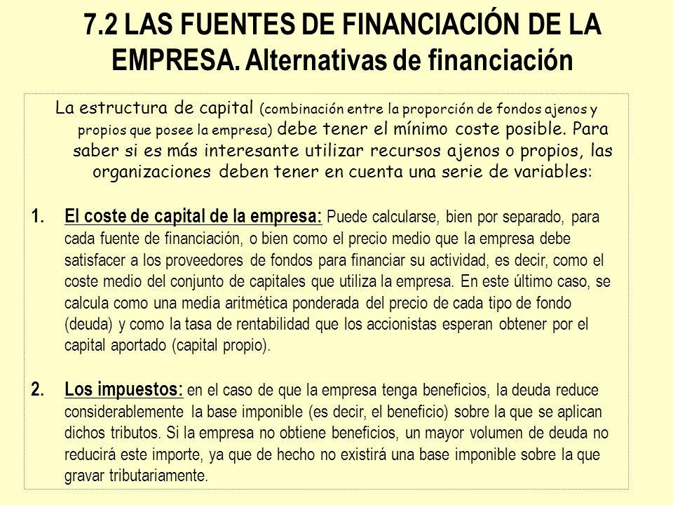 La estructura de capital (combinación entre la proporción de fondos ajenos y propios que posee la empresa) debe tener el mínimo coste posible. Para sa