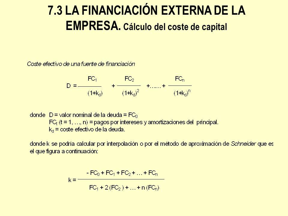 7.3 LA FINANCIACIÓN EXTERNA DE LA EMPRESA. Cálculo del coste de capital