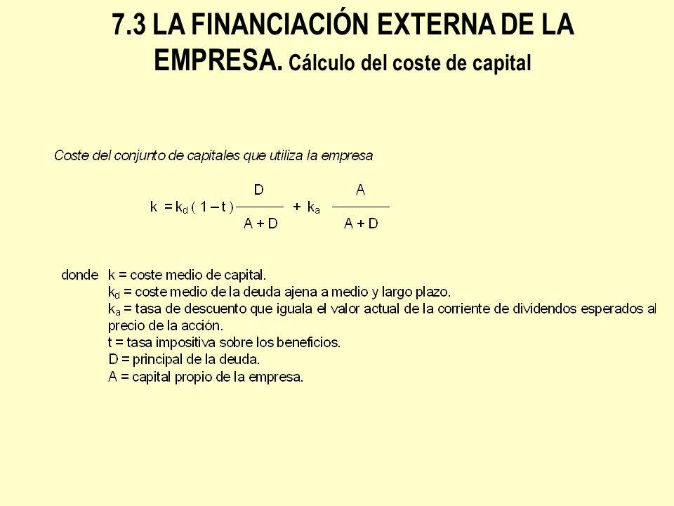 7.3 LA FINANCIACIÓN EXTERNA DE LA EMPRESA.