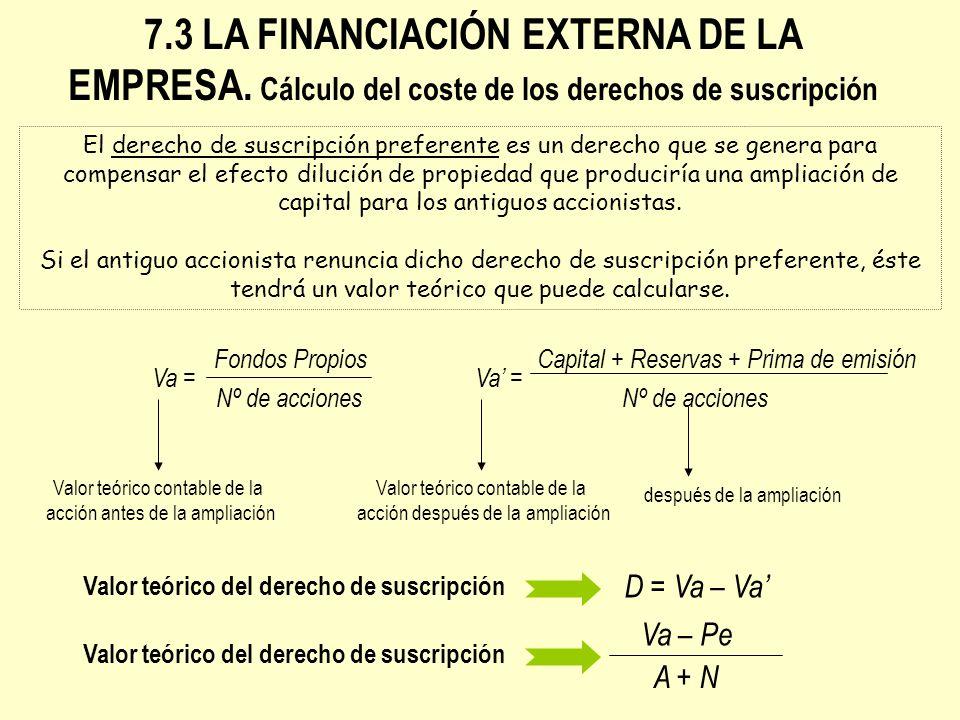 7.3 LA FINANCIACIÓN EXTERNA DE LA EMPRESA. Cálculo del coste de los derechos de suscripción El derecho de suscripción preferente es un derecho que se