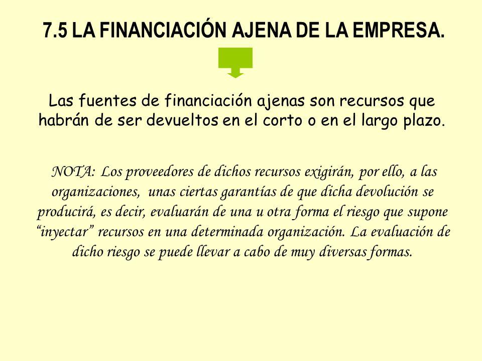 7.5 LA FINANCIACIÓN AJENA DE LA EMPRESA. Las fuentes de financiación ajenas son recursos que habrán de ser devueltos en el corto o en el largo plazo.