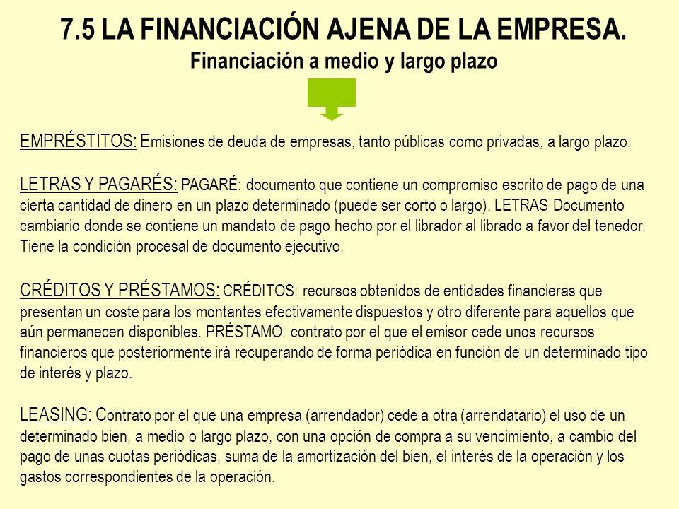 7.5 LA FINANCIACIÓN AJENA DE LA EMPRESA. Financiación a medio y largo plazo EMPRÉSTITOS: E misiones de deuda de empresas, tanto públicas como privadas