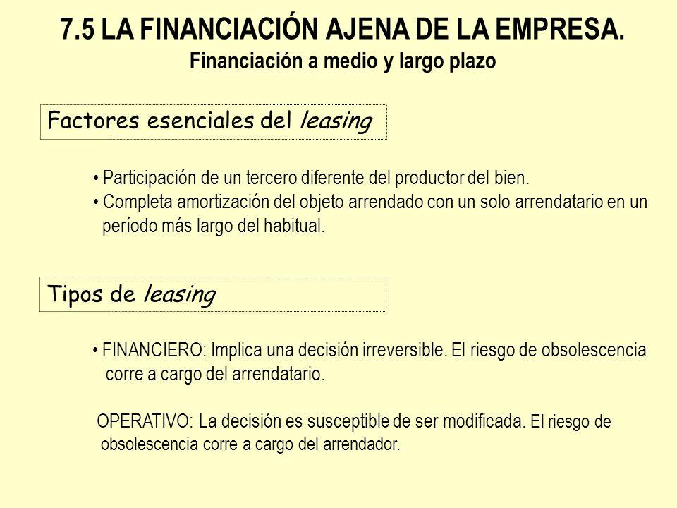 Factores esenciales del leasing 7.5 LA FINANCIACIÓN AJENA DE LA EMPRESA. Financiación a medio y largo plazo Participación de un tercero diferente del