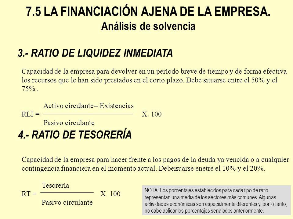 3.- RATIO DE LIQUIDEZ INMEDIATA 4.- RATIO DE TESORERÍA 7.5 LA FINANCIACIÓN AJENA DE LA EMPRESA. Análisis de solvencia Capacidad de la empresa para dev