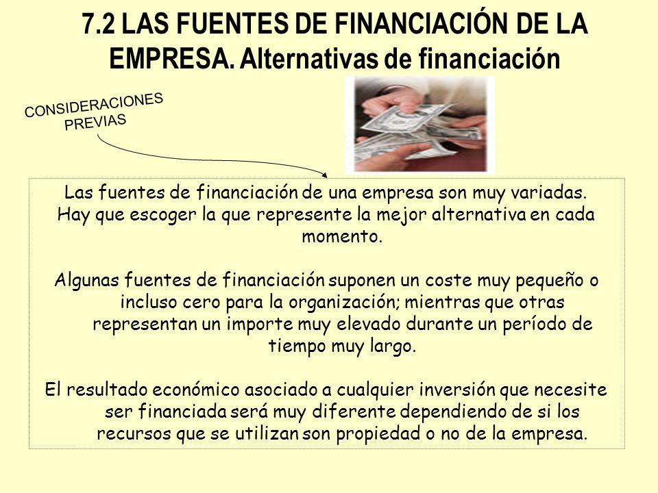 7.2 LAS FUENTES DE FINANCIACIÓN DE LA EMPRESA. Alternativas de financiación Las fuentes de financiación de una empresa son muy variadas. Hay que escog