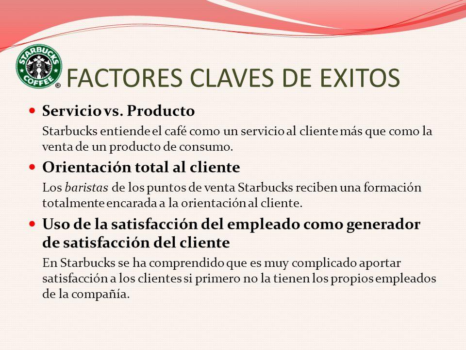 FACTORES CLAVES DE EXITOS Servicio vs. Producto Starbucks entiende el café como un servicio al cliente más que como la venta de un producto de consumo
