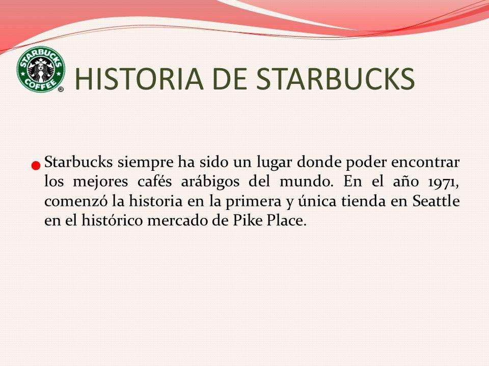 HISTORIA DE STARBUCKS Starbucks siempre ha sido un lugar donde poder encontrar los mejores cafés arábigos del mundo. En el año 1971, comenzó la histor