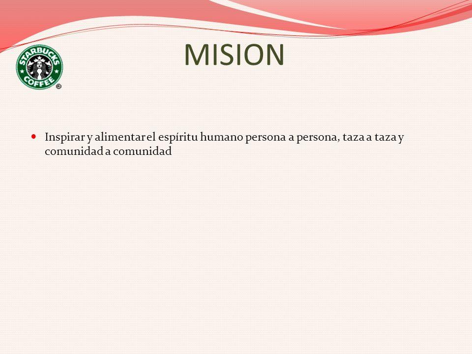 MISION Inspirar y alimentar el espíritu humano persona a persona, taza a taza y comunidad a comunidad