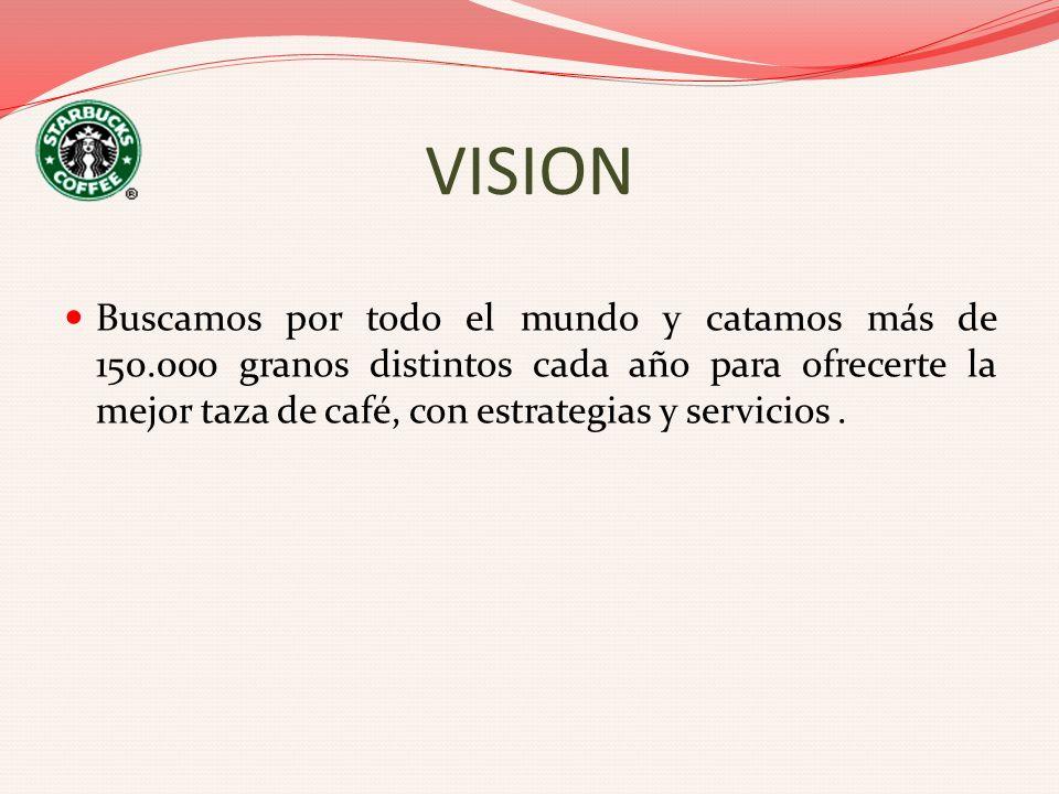 VISION Buscamos por todo el mundo y catamos más de 150.000 granos distintos cada año para ofrecerte la mejor taza de café, con estrategias y servicios