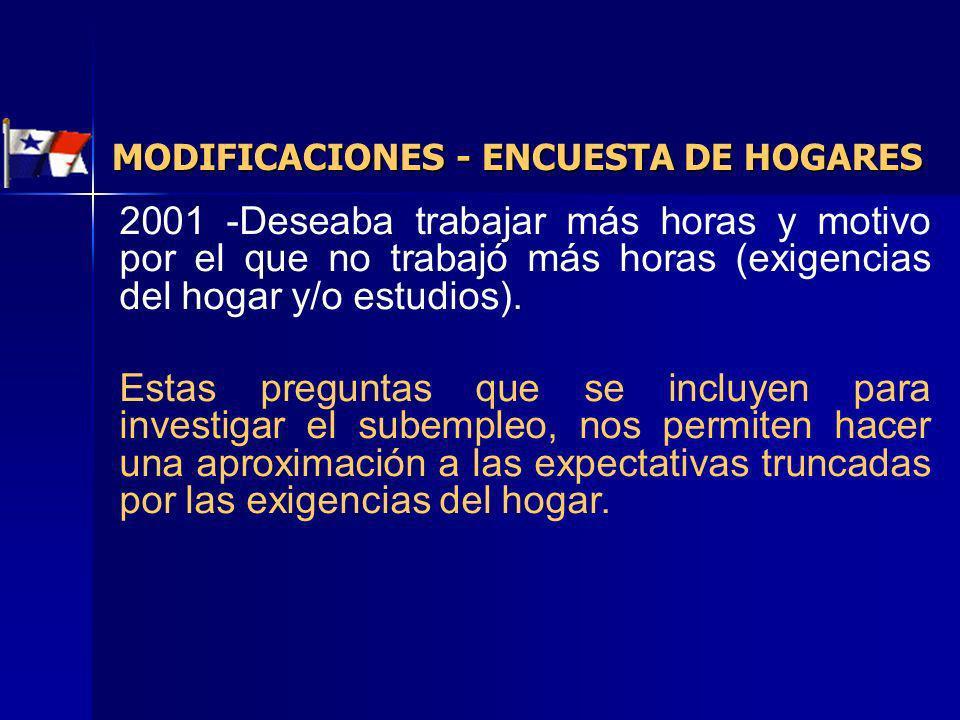 2001 -Deseaba trabajar más horas y motivo por el que no trabajó más horas (exigencias del hogar y/o estudios). Estas preguntas que se incluyen para in