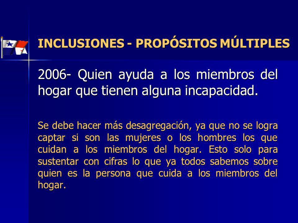 INCLUSIONES - PROPÓSITOS MÚLTIPLES 2006- Quien ayuda a los miembros del hogar que tienen alguna incapacidad. Se debe hacer más desagregación, ya que n