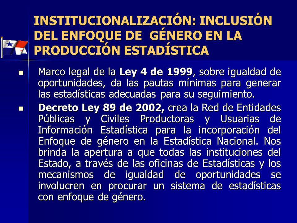 Marco legal de la Ley 4 de 1999, sobre igualdad de oportunidades, da las pautas mínimas para generar las estadísticas adecuadas para su seguimiento. M