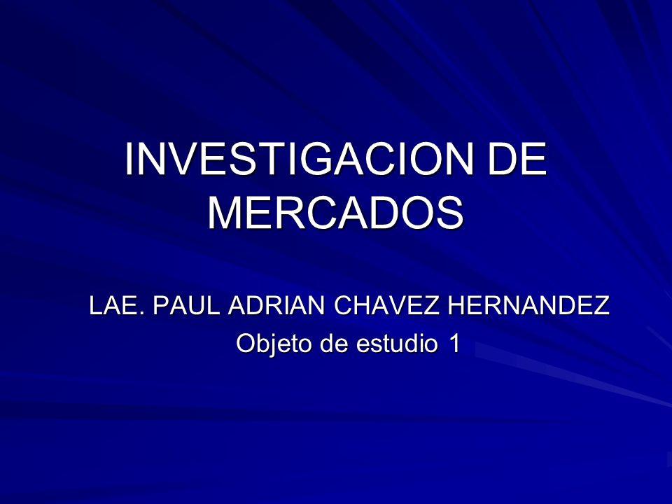INVESTIGACION DE MERCADOS LAE. PAUL ADRIAN CHAVEZ HERNANDEZ Objeto de estudio 1
