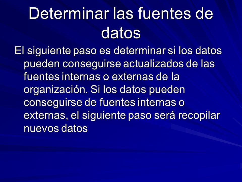Determinar las fuentes de datos El siguiente paso es determinar si los datos pueden conseguirse actualizados de las fuentes internas o externas de la