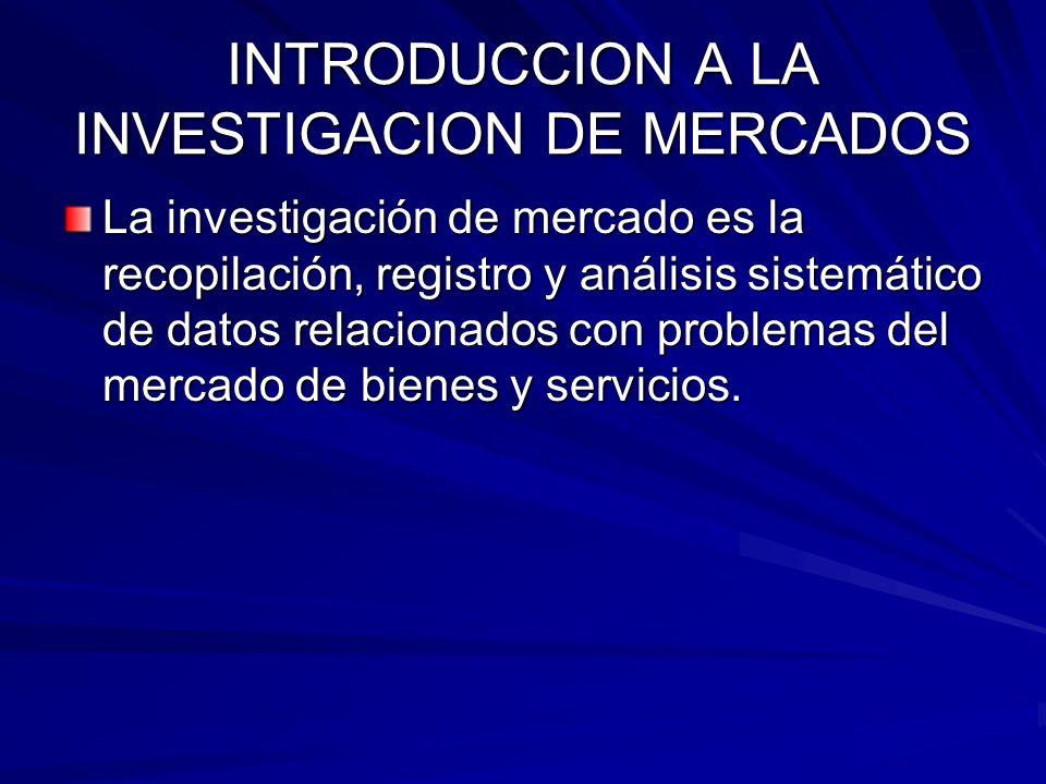 INTRODUCCION A LA INVESTIGACION DE MERCADOS La investigación de mercado es la recopilación, registro y análisis sistemático de datos relacionados con