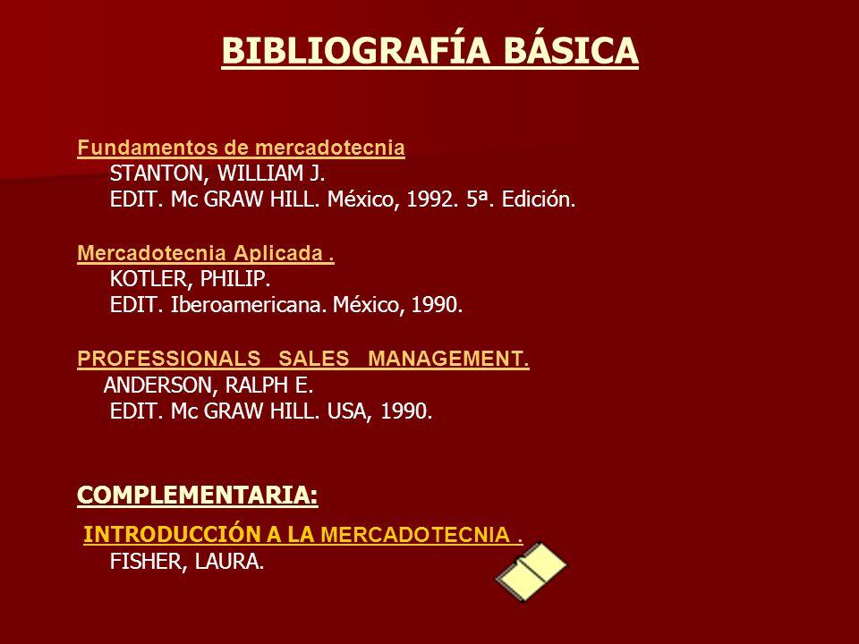 BIBLIOGRAFÍA BÁSICA Fundamentos de mercadotecnia STANTON, WILLIAM J. EDIT. Mc GRAW HILL. México, 1992. 5ª. Edición. Mercadotecnia Aplicada. KOTLER, PH