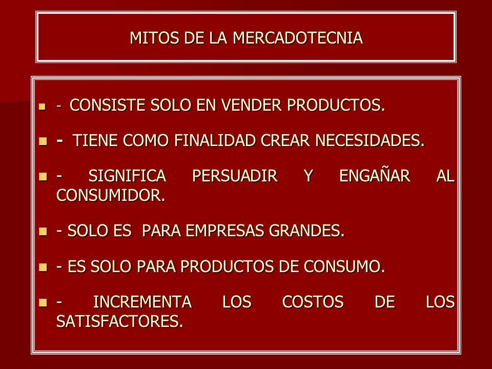 MITOS DE LA MERCADOTECNIA - CONSISTE SOLO EN VENDER PRODUCTOS. - CONSISTE SOLO EN VENDER PRODUCTOS. - TIENE COMO FINALIDAD CREAR NECESIDADES. - TIENE
