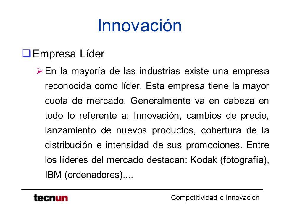 Competitividad e Innovación Innovación Empresa Líder En la mayoría de las industrias existe una empresa reconocida como líder. Esta empresa tiene la m