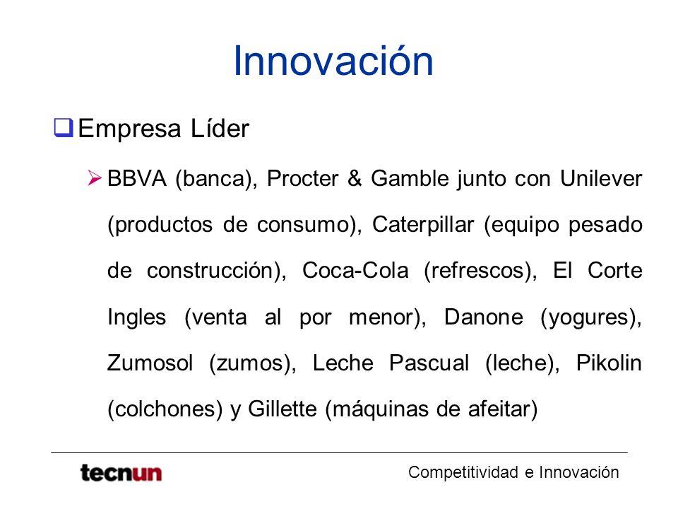 Competitividad e Innovación Innovación Empresa Líder BBVA (banca), Procter & Gamble junto con Unilever (productos de consumo), Caterpillar (equipo pes