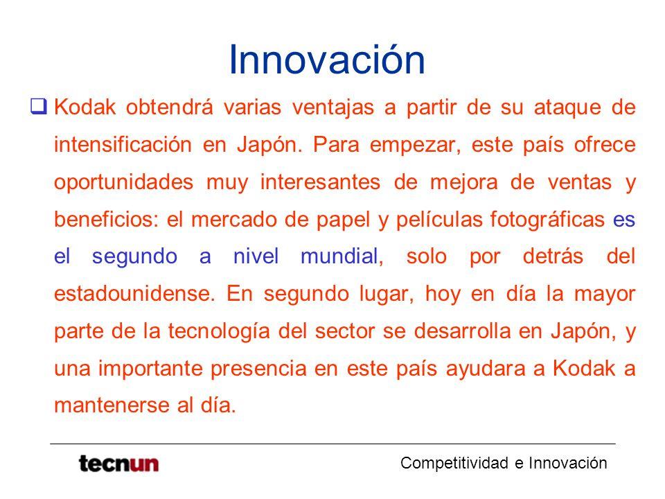 Competitividad e Innovación Innovación Kodak obtendrá varias ventajas a partir de su ataque de intensificación en Japón. Para empezar, este país ofrec