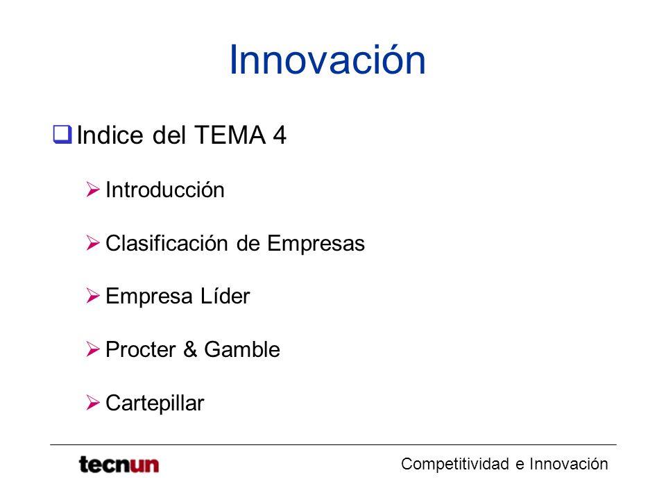 Competitividad e Innovación Innovación Indice del TEMA 4 Introducción Clasificación de Empresas Empresa Líder Procter & Gamble Cartepillar