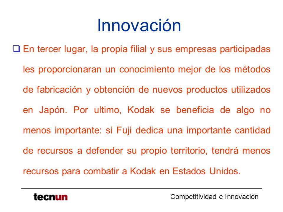 Competitividad e Innovación Innovación En tercer lugar, la propia filial y sus empresas participadas les proporcionaran un conocimiento mejor de los m