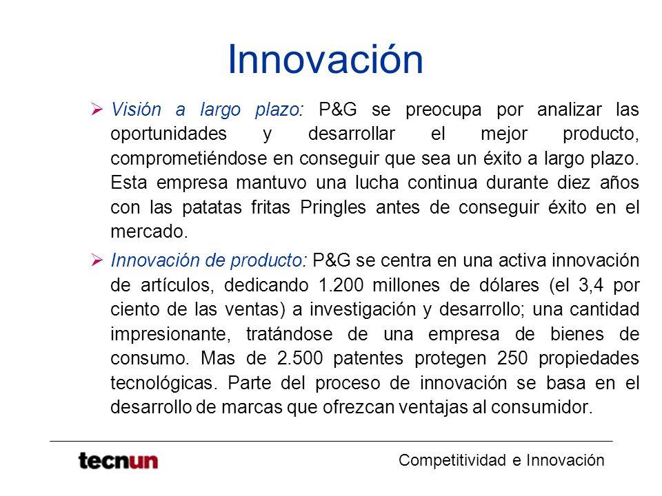 Competitividad e Innovación Innovación Visión a largo plazo: P&G se preocupa por analizar las oportunidades y desarrollar el mejor producto, compromet