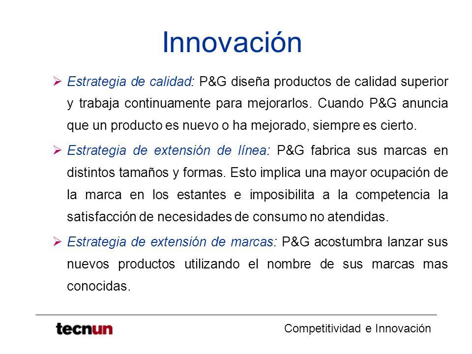 Competitividad e Innovación Innovación Estrategia de calidad: P&G diseña productos de calidad superior y trabaja continuamente para mejorarlos. Cuando
