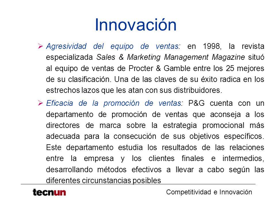 Competitividad e Innovación Innovación Agresividad del equipo de ventas: en 1998, la revista especializada Sales & Marketing Management Magazine situó