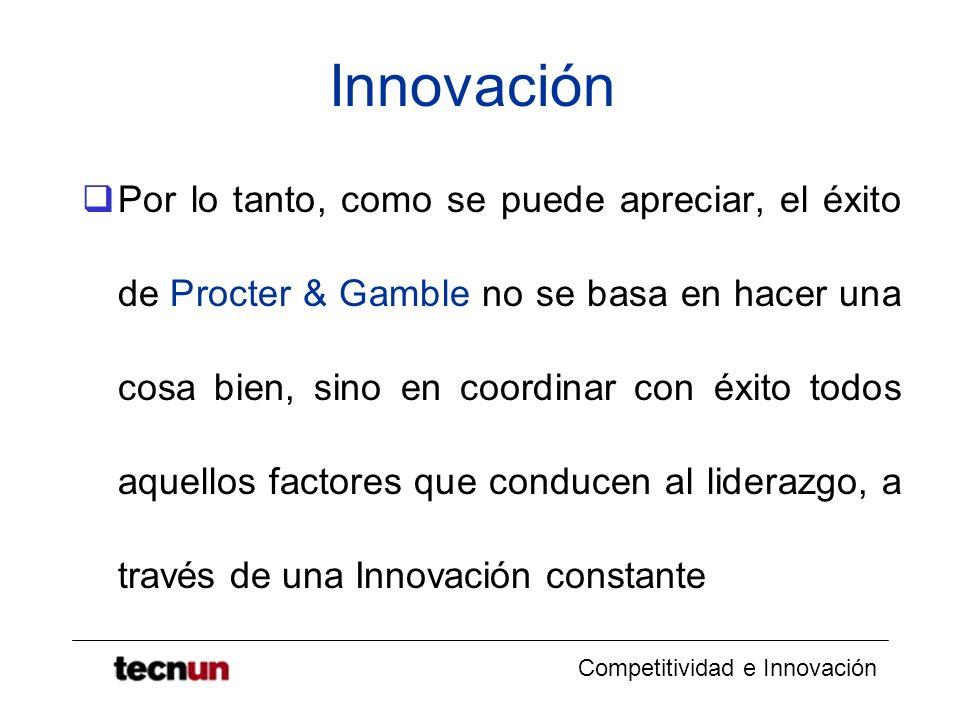 Competitividad e Innovación Innovación Por lo tanto, como se puede apreciar, el éxito de Procter & Gamble no se basa en hacer una cosa bien, sino en c