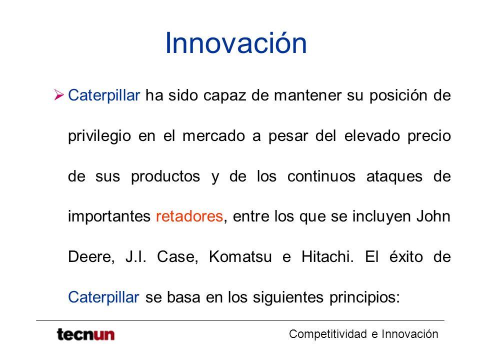 Competitividad e Innovación Innovación Caterpillar ha sido capaz de mantener su posición de privilegio en el mercado a pesar del elevado precio de sus