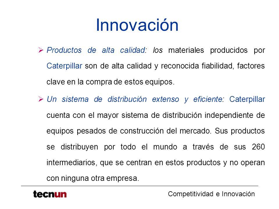 Competitividad e Innovación Innovación Productos de alta calidad: los materiales producidos por Caterpillar son de alta calidad y reconocida fiabilida