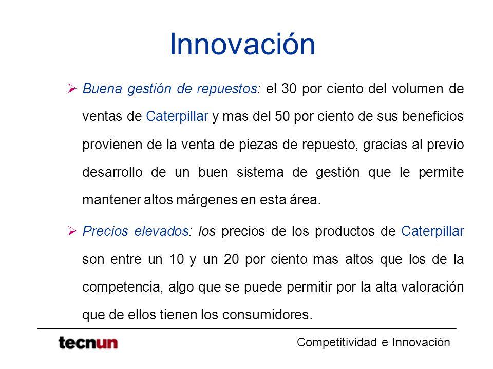 Competitividad e Innovación Innovación Buena gestión de repuestos: el 30 por ciento del volumen de ventas de Caterpillar y mas del 50 por ciento de su