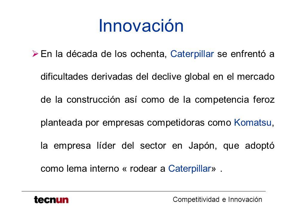 Competitividad e Innovación Innovación En la década de los ochenta, Caterpillar se enfrentó a dificultades derivadas del declive global en el mercado