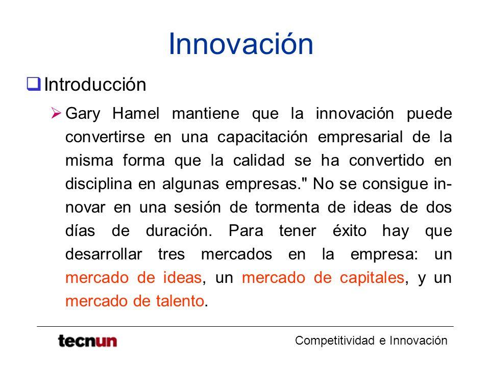 Competitividad e Innovación Innovación Introducción Gary Hamel mantiene que la innovación puede convertirse en una capacitación empresarial de la mism