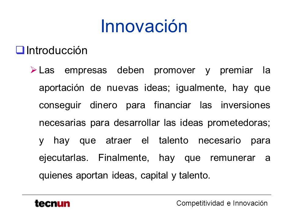 Competitividad e Innovación Innovación Introducción Las empresas deben promover y premiar la aportación de nuevas ideas; igualmente, hay que conseguir