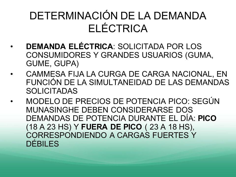 DETERMINACIÓN DE LA DEMANDA ELÉCTRICA DEMANDA ELÉCTRICADEMANDA ELÉCTRICA: SOLICITADA POR LOS CONSUMIDORES Y GRANDES USUARIOS (GUMA, GUME, GUPA) CAMMES