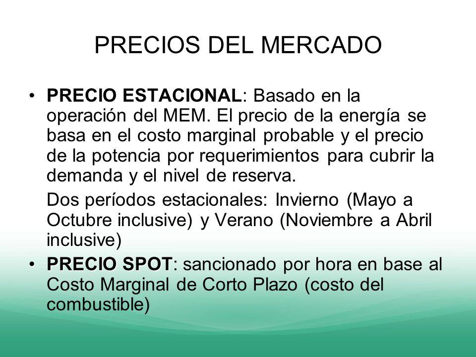 PRECIOS DEL MERCADO PRECIO ESTACIONALPRECIO ESTACIONAL: Basado en la operación del MEM. El precio de la energía se basa en el costo marginal probable