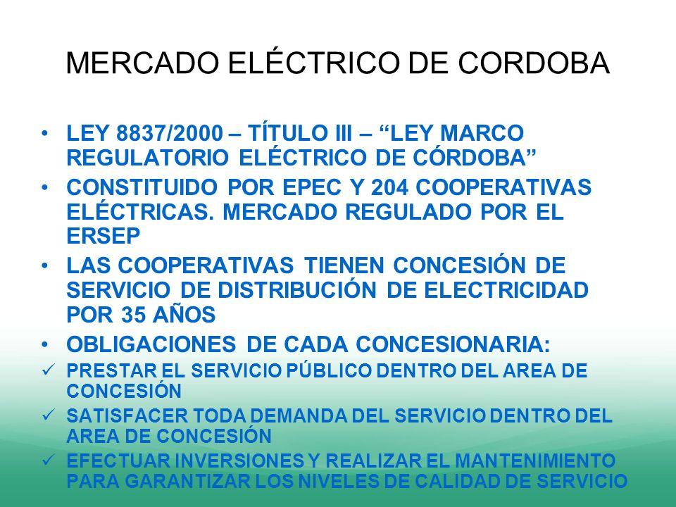 MERCADO ELÉCTRICO DE CORDOBA LEY 8837/2000 – TÍTULO III – LEY MARCO REGULATORIO ELÉCTRICO DE CÓRDOBA CONSTITUIDO POR EPEC Y 204 COOPERATIVAS ELÉCTRICA