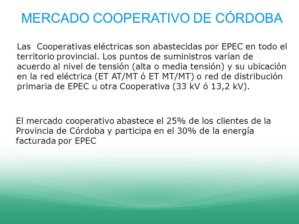 MERCADO COOPERATIVO DE CÓRDOBA El mercado cooperativo abastece el 25% de los clientes de la Provincia de Córdoba y participa en el 30% de la energía f