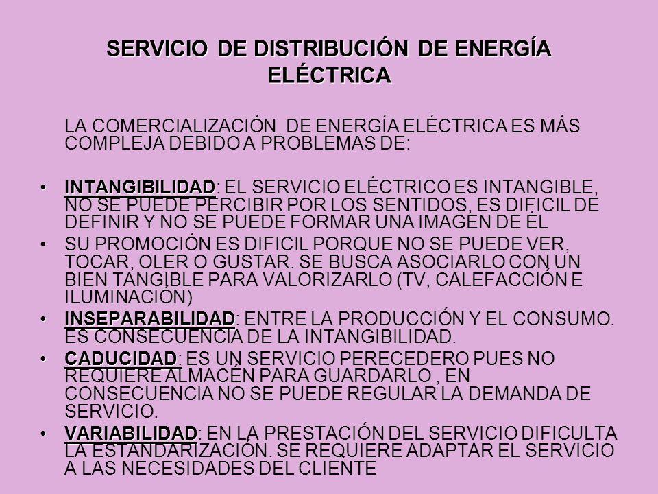SERVICIO DE DISTRIBUCIÓN DE ENERGÍA ELÉCTRICA LA COMERCIALIZACIÓN DE ENERGÍA ELÉCTRICA ES MÁS COMPLEJA DEBIDO A PROBLEMAS DE: INTANGIBILIDADINTANGIBIL