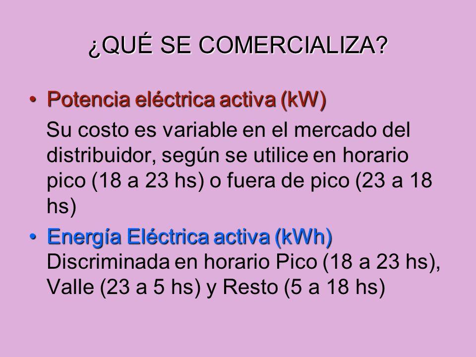 ¿QUÉ SE COMERCIALIZA? Potencia eléctrica activa (kW)Potencia eléctrica activa (kW) Su costo es variable en el mercado del distribuidor, según se utili